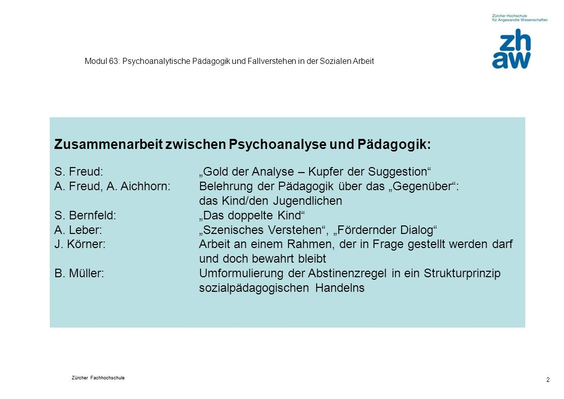 Zusammenarbeit zwischen Psychoanalyse und Pädagogik: