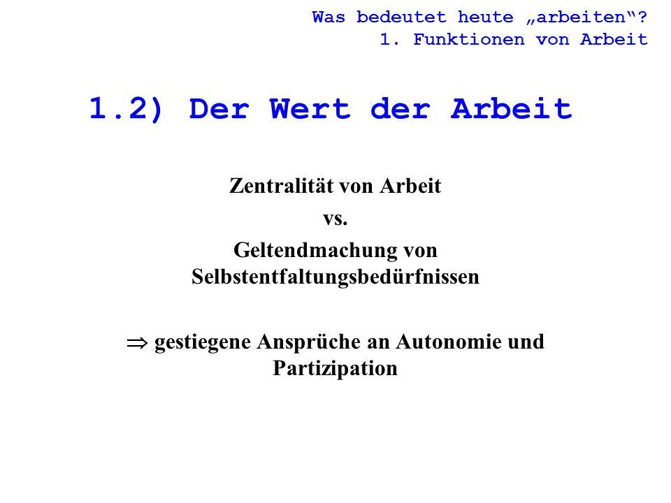 1.2) Der Wert der Arbeit Zentralität von Arbeit vs.