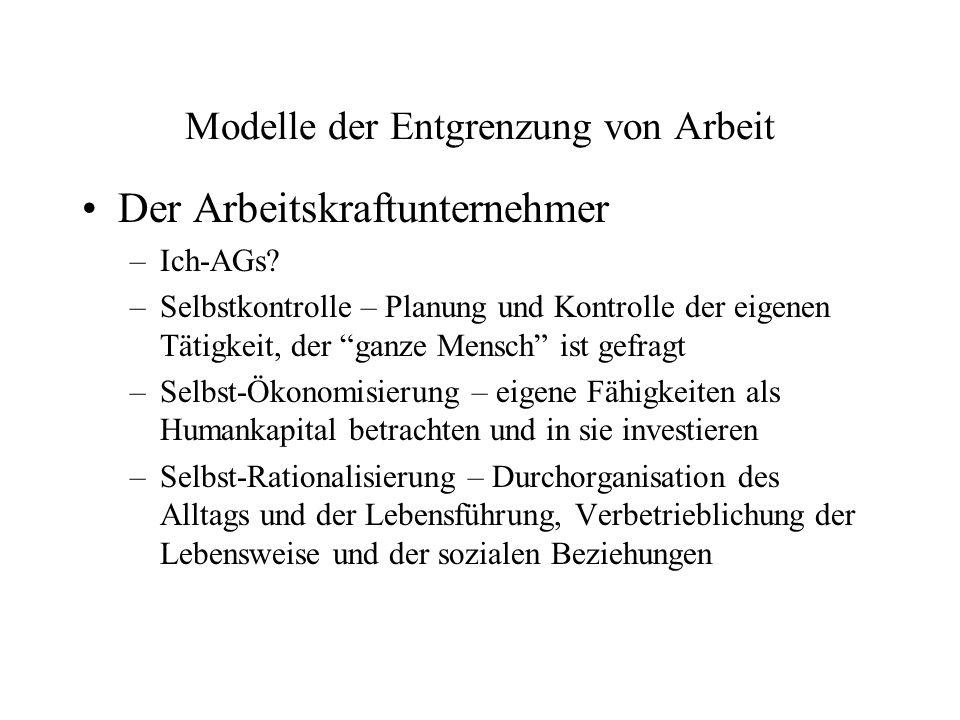 Modelle der Entgrenzung von Arbeit