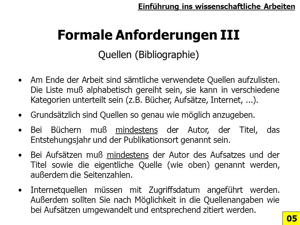 Formale Anforderungen III