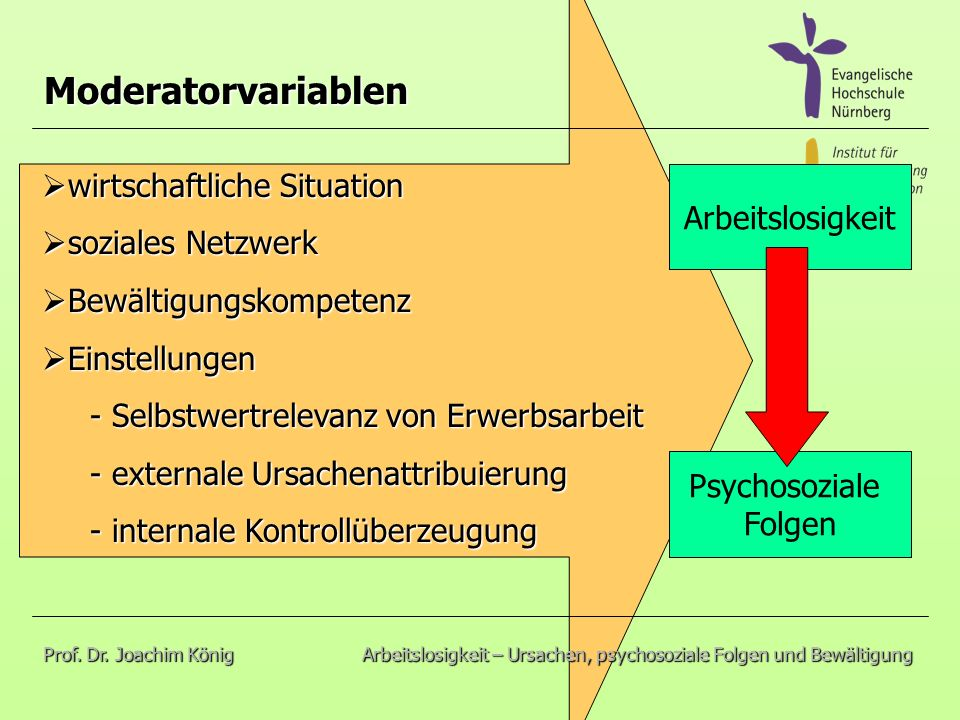 Moderatorvariablen wirtschaftliche Situation soziales Netzwerk