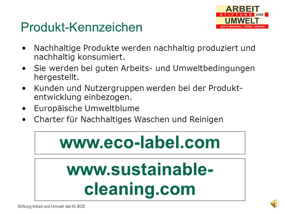 www.eco-label.com www.sustainable-cleaning.com