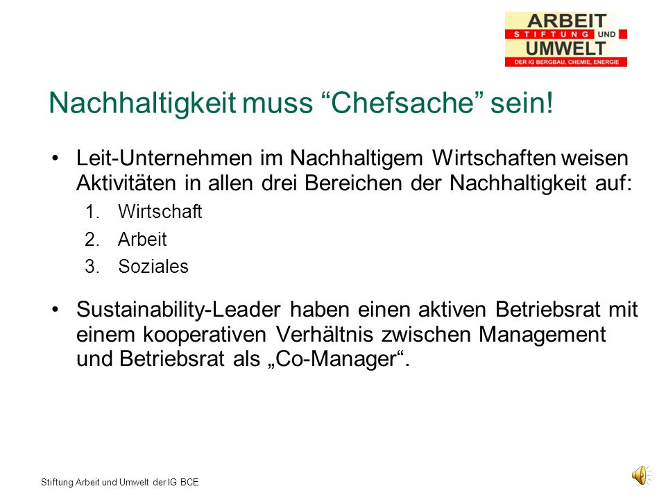 Nachhaltigkeit muss Chefsache sein!