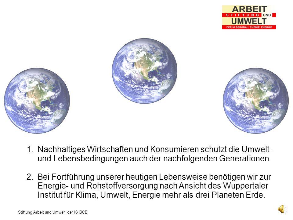Nachhaltiges Wirtschaften und Konsumieren schützt die Umwelt- und Lebensbedingungen auch der nachfolgenden Generationen.