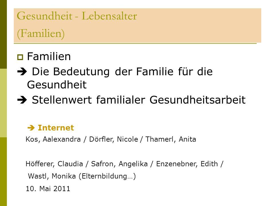 Gesundheit - Lebensalter (Familien)