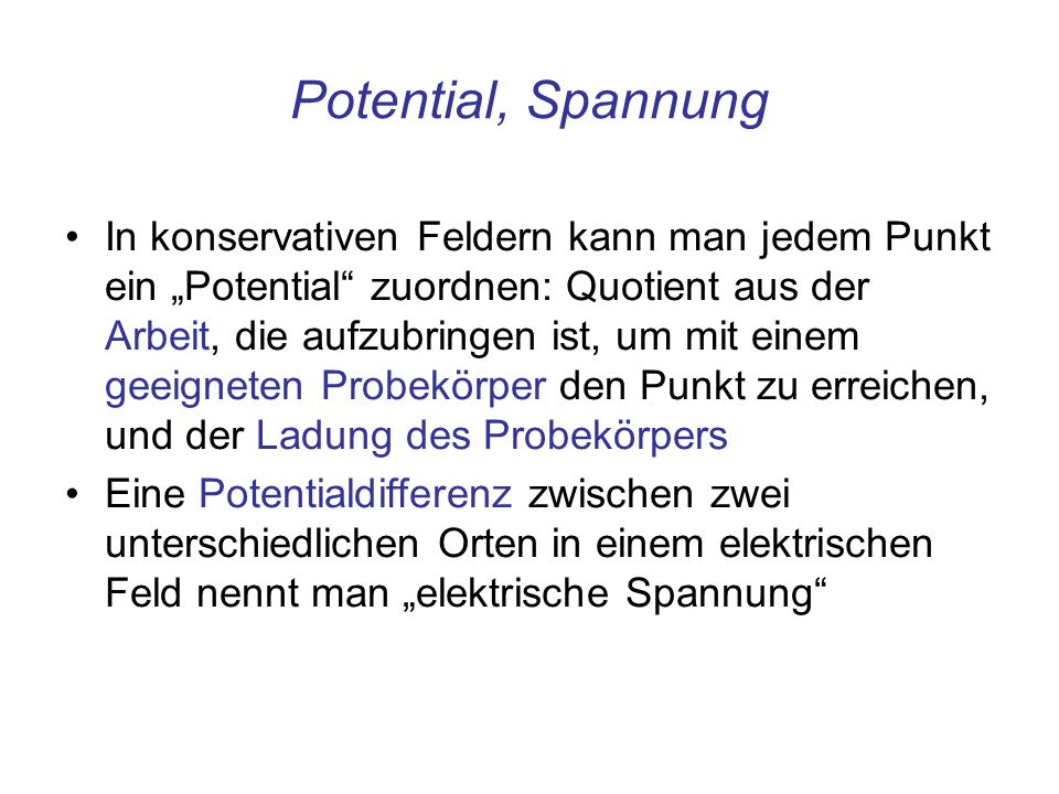 Potential, Spannung