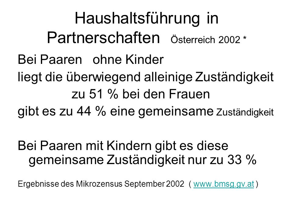Haushaltsführung in Partnerschaften Österreich 2002 *
