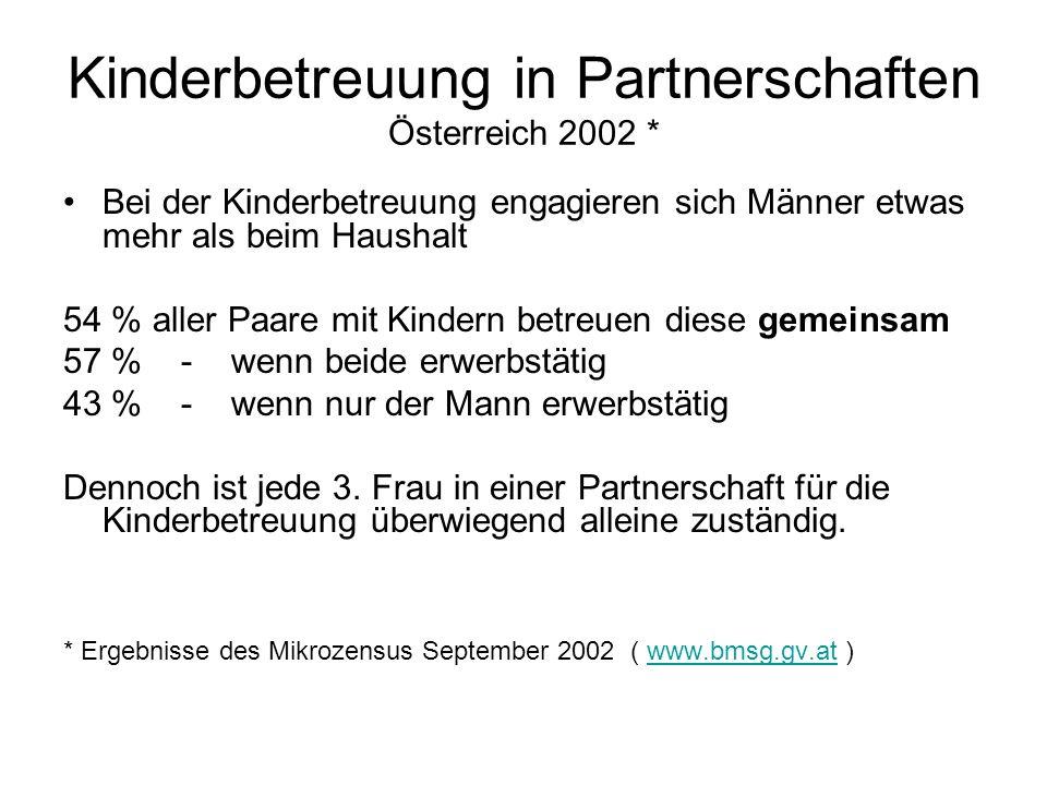 Kinderbetreuung in Partnerschaften Österreich 2002 *