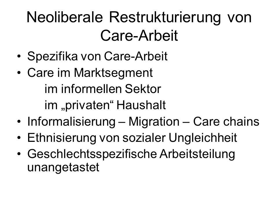 Neoliberale Restrukturierung von Care-Arbeit
