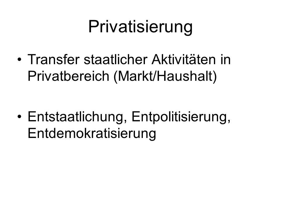 Privatisierung Transfer staatlicher Aktivitäten in Privatbereich (Markt/Haushalt) Entstaatlichung, Entpolitisierung, Entdemokratisierung.
