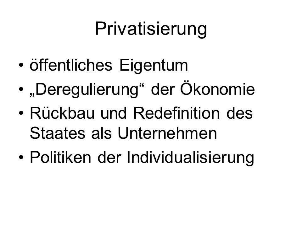 """Privatisierung öffentliches Eigentum """"Deregulierung der Ökonomie"""