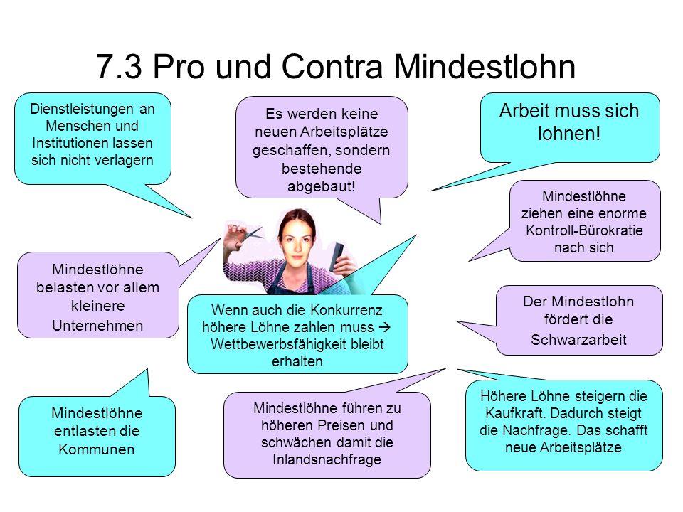 7.3 Pro und Contra Mindestlohn