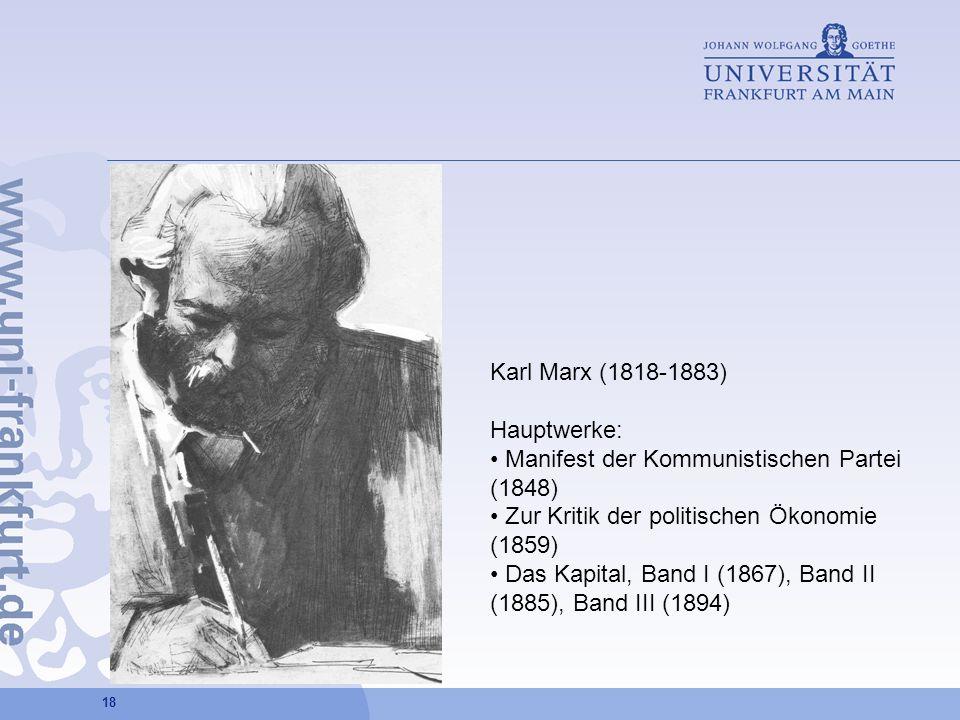 Karl Marx (1818-1883) Hauptwerke: Manifest der Kommunistischen Partei (1848) Zur Kritik der politischen Ökonomie (1859)