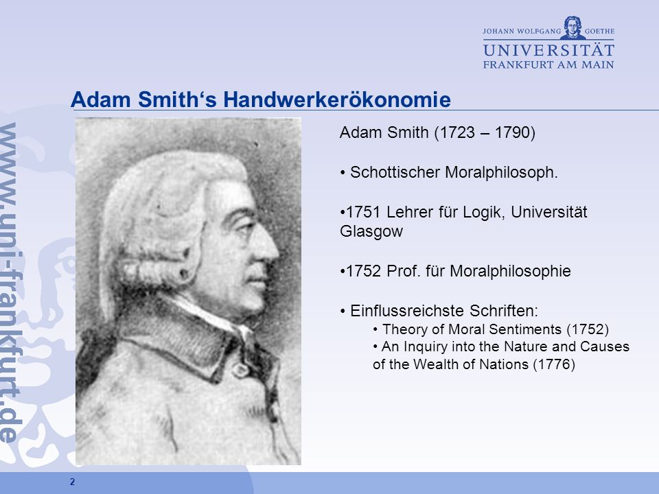 Adam Smith's Handwerkerökonomie
