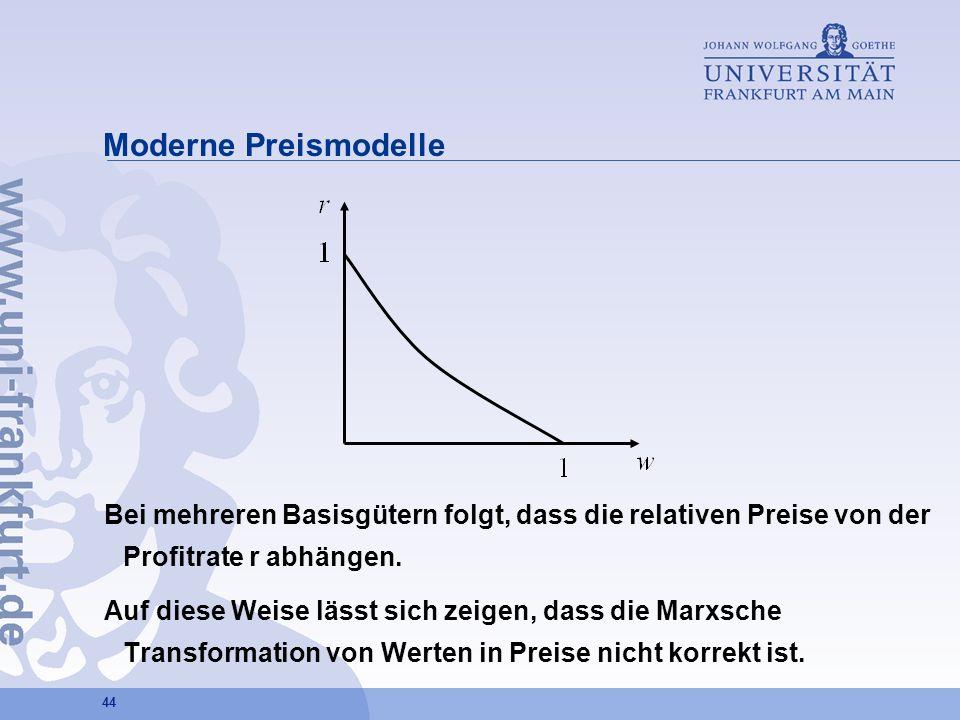 Moderne Preismodelle Bei mehreren Basisgütern folgt, dass die relativen Preise von der Profitrate r abhängen.