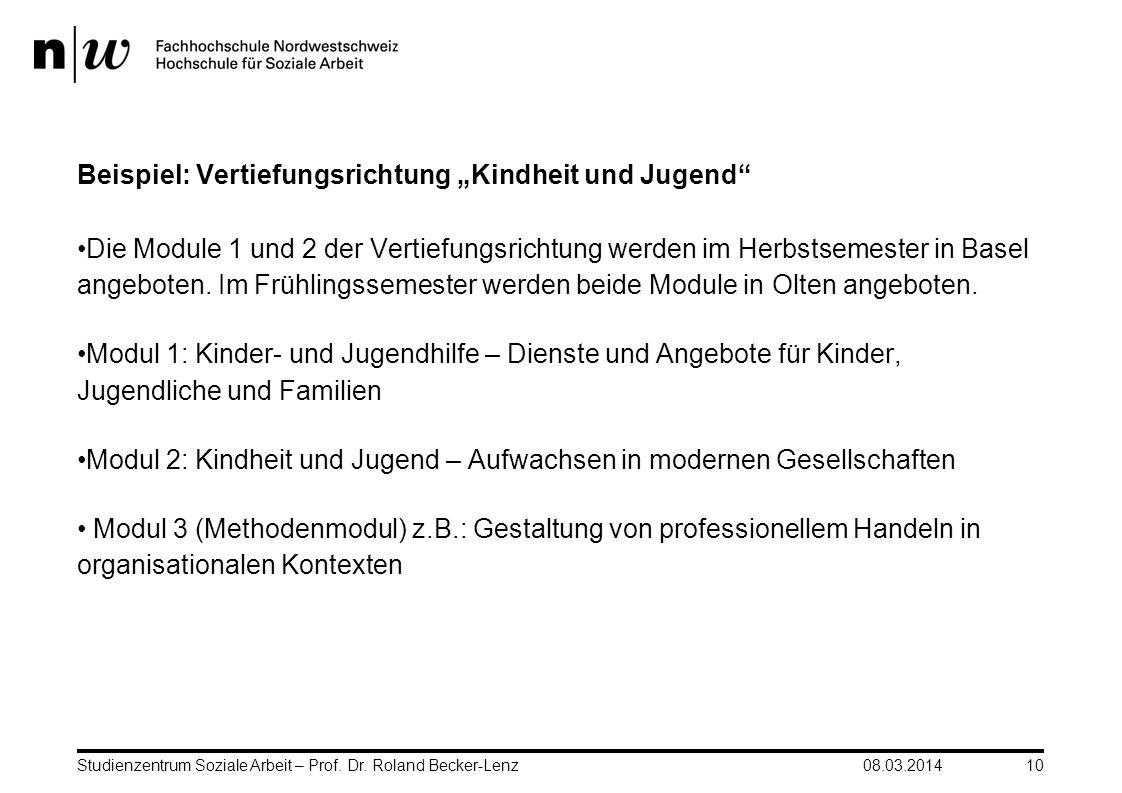 """Beispiel: Vertiefungsrichtung """"Kindheit und Jugend"""