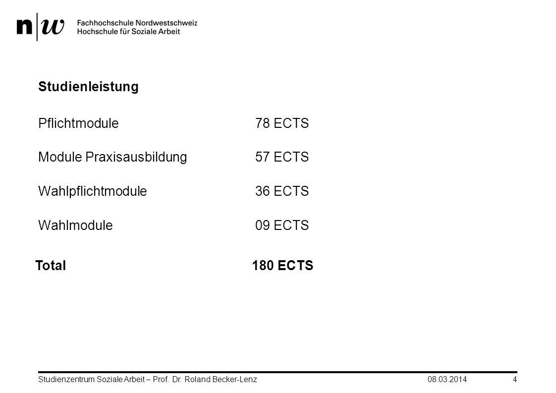 Module Praxisausbildung 57 ECTS Wahlpflichtmodule 36 ECTS