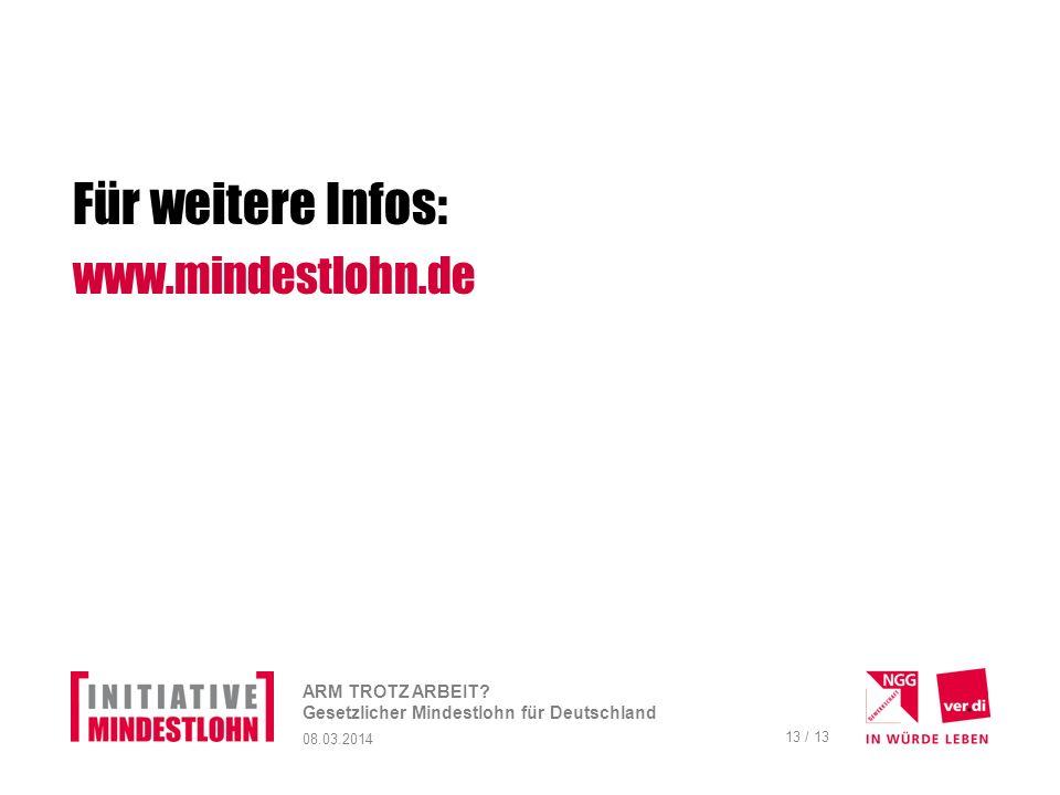 Für weitere Infos: www.mindestlohn.de ARM TROTZ ARBEIT