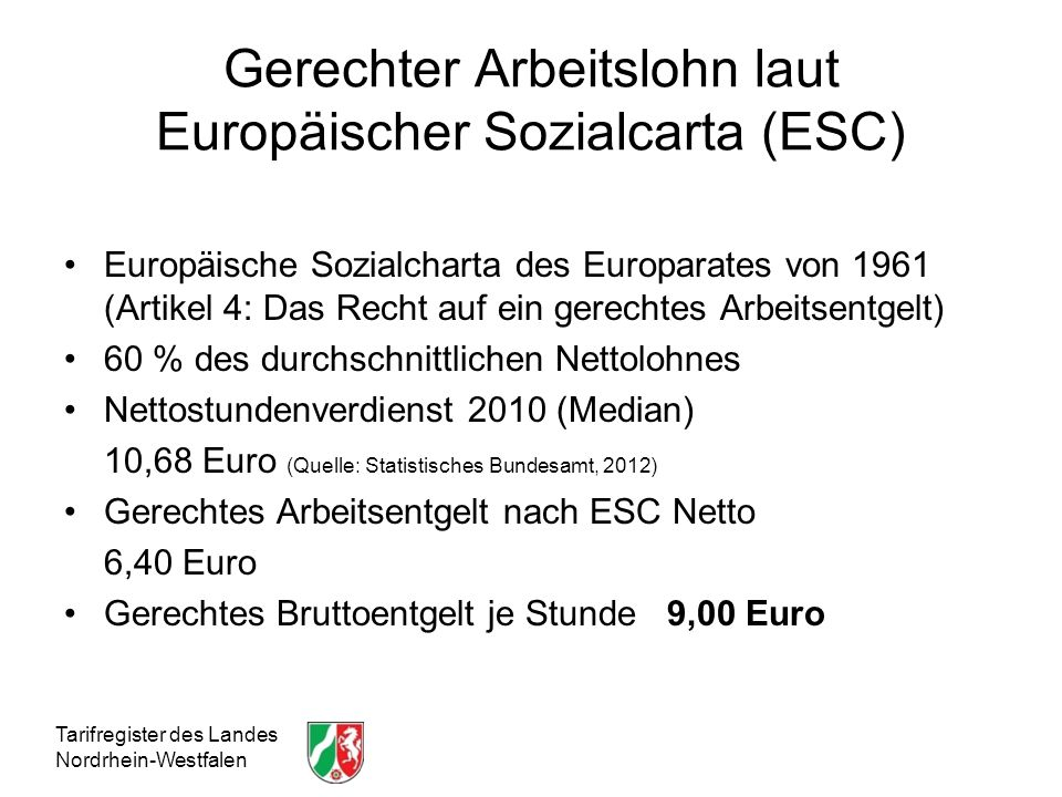 Gerechter Arbeitslohn laut Europäischer Sozialcarta (ESC)