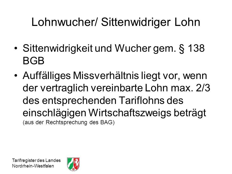 Lohnwucher/ Sittenwidriger Lohn