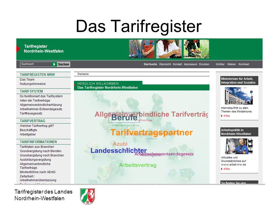 Das Tarifregister Tarifregister des Landes Nordrhein-Westfalen