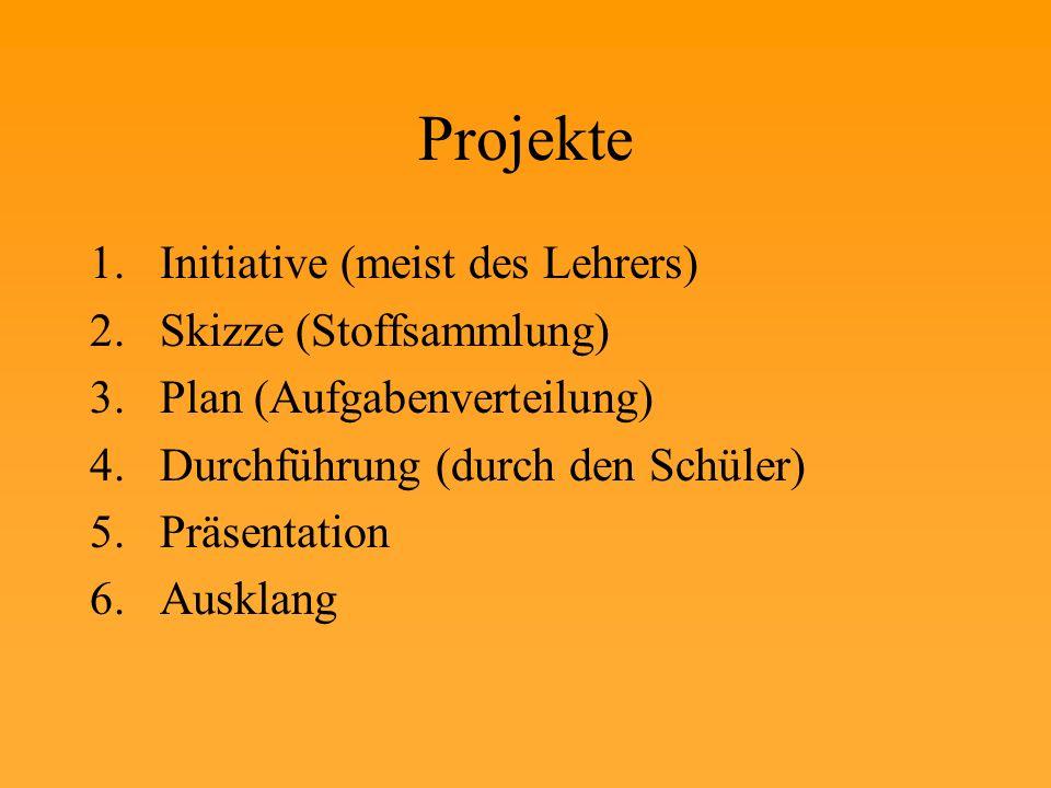 Projekte Initiative (meist des Lehrers) Skizze (Stoffsammlung)