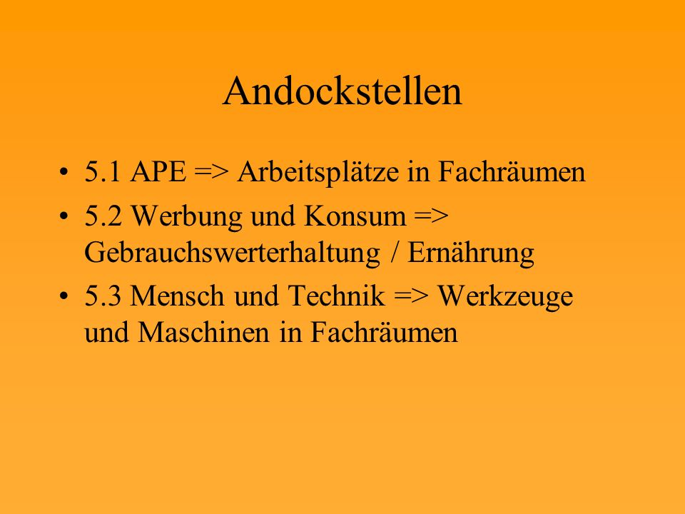Andockstellen 5.1 APE => Arbeitsplätze in Fachräumen