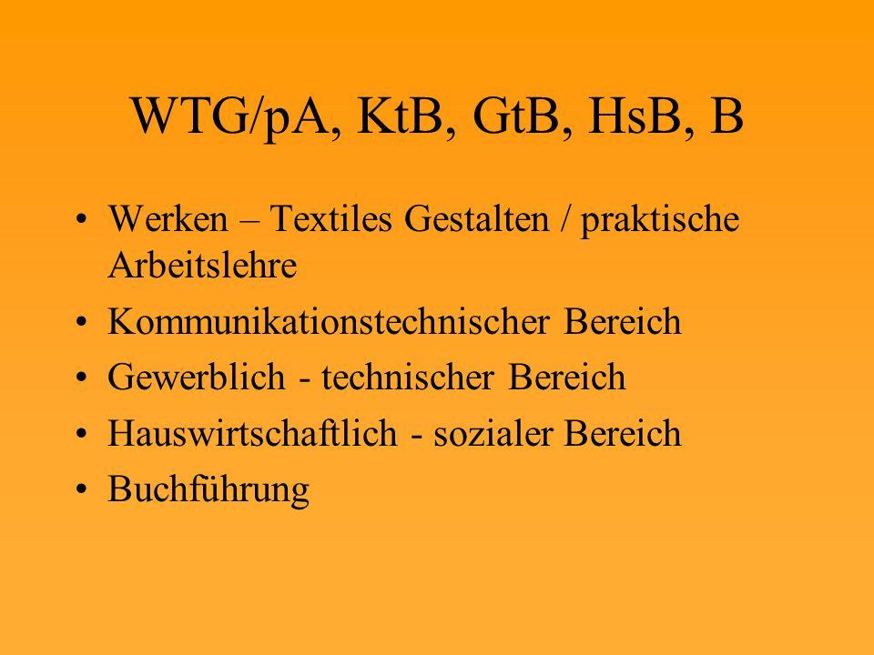 WTG/pA, KtB, GtB, HsB, B Werken – Textiles Gestalten / praktische Arbeitslehre. Kommunikationstechnischer Bereich.