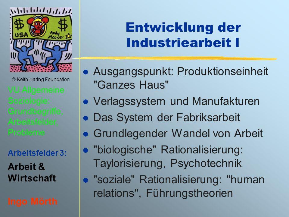 Entwicklung der Industriearbeit I