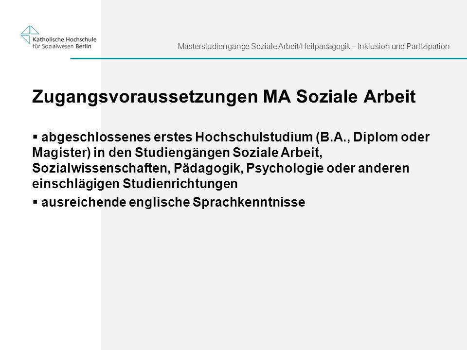 Zugangsvoraussetzungen MA Soziale Arbeit