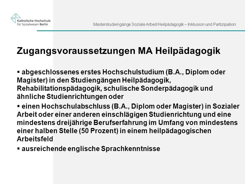 Zugangsvoraussetzungen MA Heilpädagogik