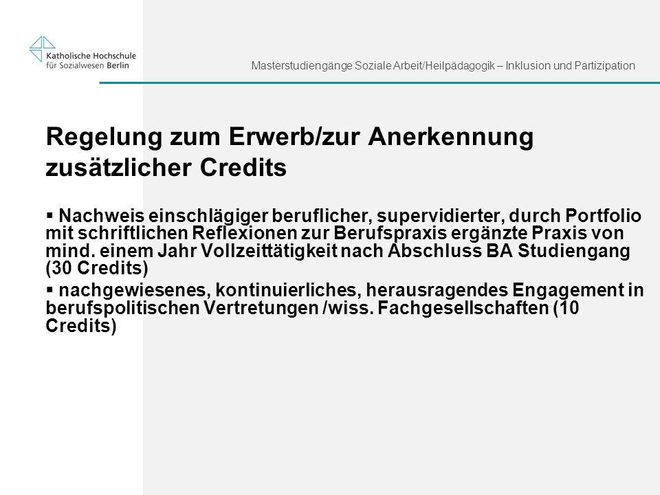 Regelung zum Erwerb/zur Anerkennung zusätzlicher Credits