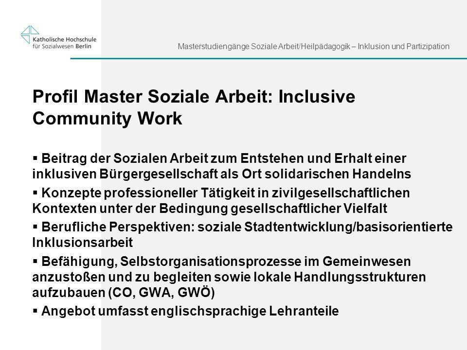 Profil Master Soziale Arbeit: Inclusive Community Work