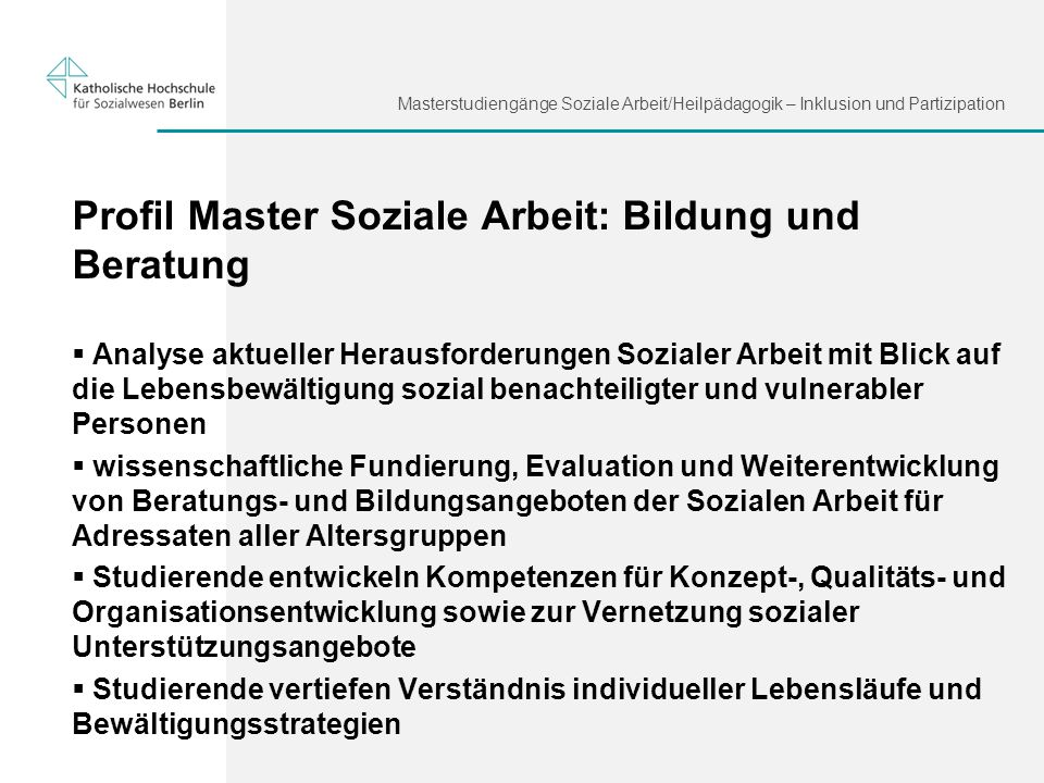 Profil Master Soziale Arbeit: Bildung und Beratung