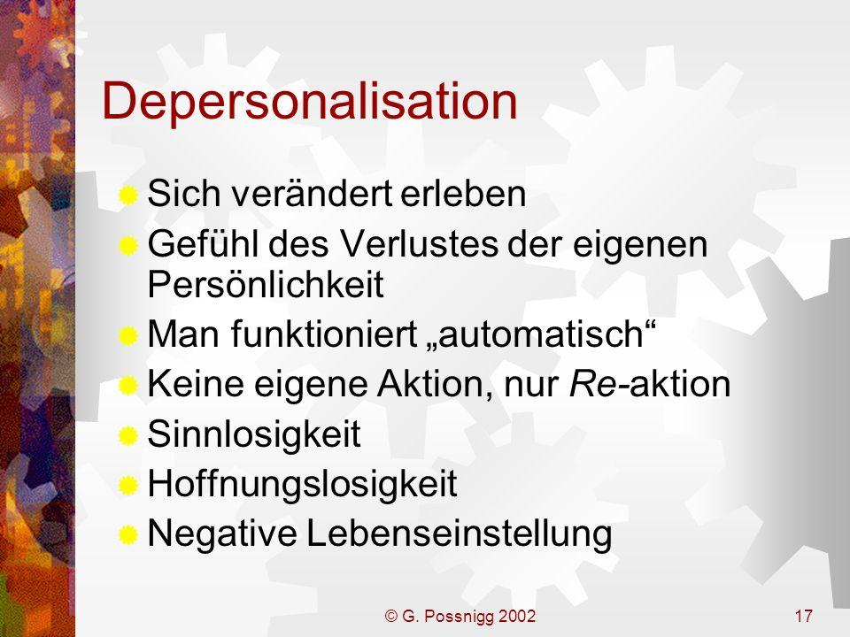 Depersonalisation Sich verändert erleben