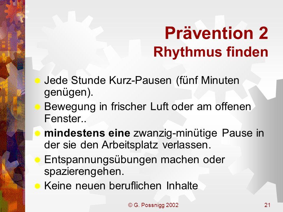 Prävention 2 Rhythmus finden
