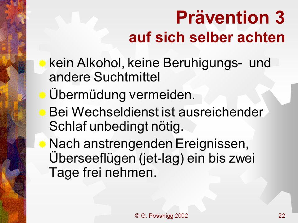 Prävention 3 auf sich selber achten