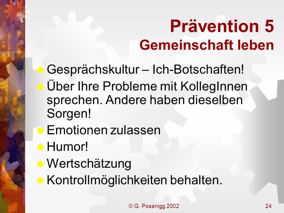 Prävention 5 Gemeinschaft leben