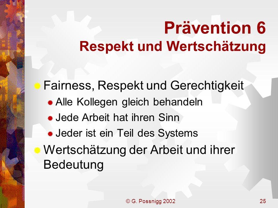Prävention 6 Respekt und Wertschätzung