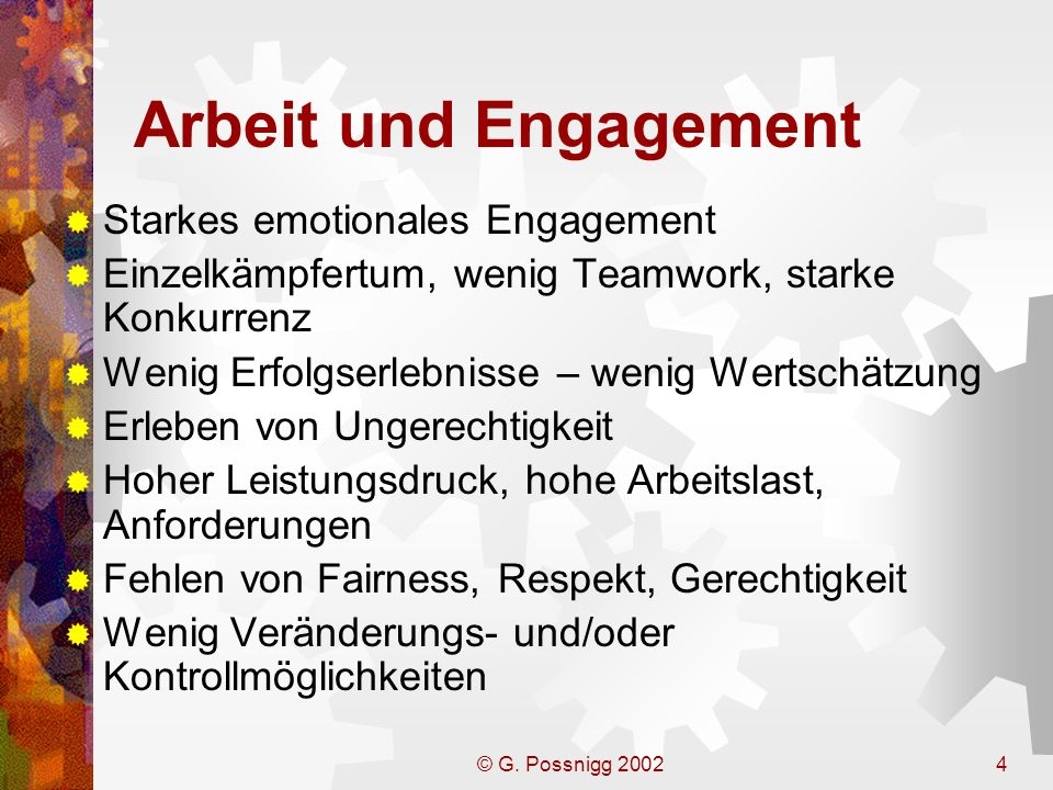 Arbeit und Engagement Starkes emotionales Engagement
