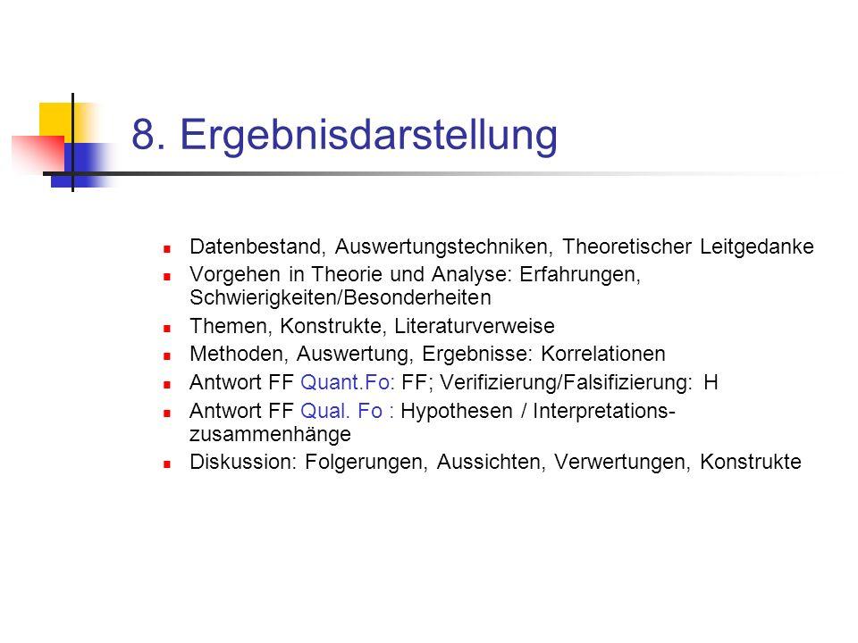 8. Ergebnisdarstellung Datenbestand, Auswertungstechniken, Theoretischer Leitgedanke.