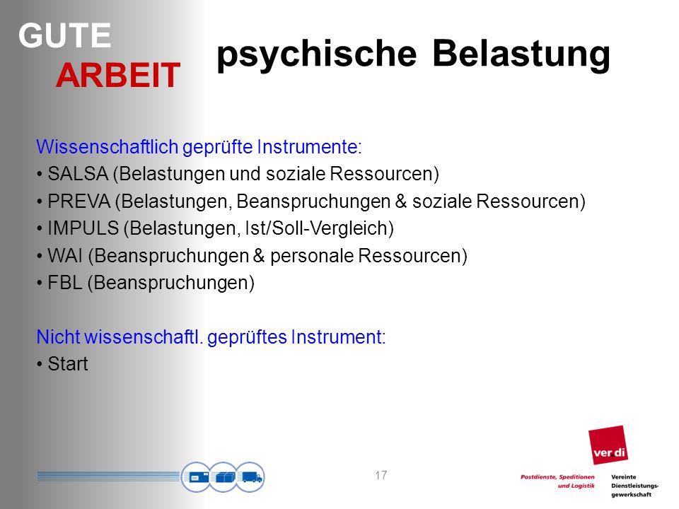 psychische Belastung Wissenschaftlich geprüfte Instrumente: