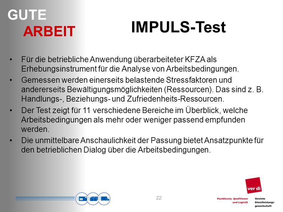 IMPULS-Test Für die betriebliche Anwendung überarbeiteter KFZA als Erhebungsinstrument für die Analyse von Arbeitsbedingungen.
