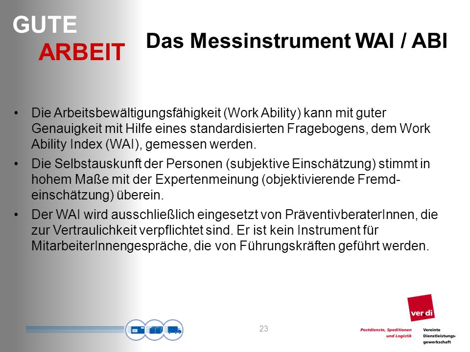 Das Messinstrument WAI / ABI