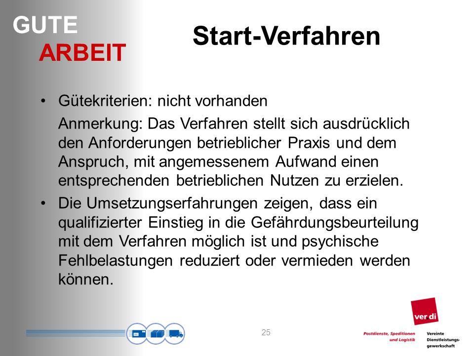 Start-Verfahren Gütekriterien: nicht vorhanden