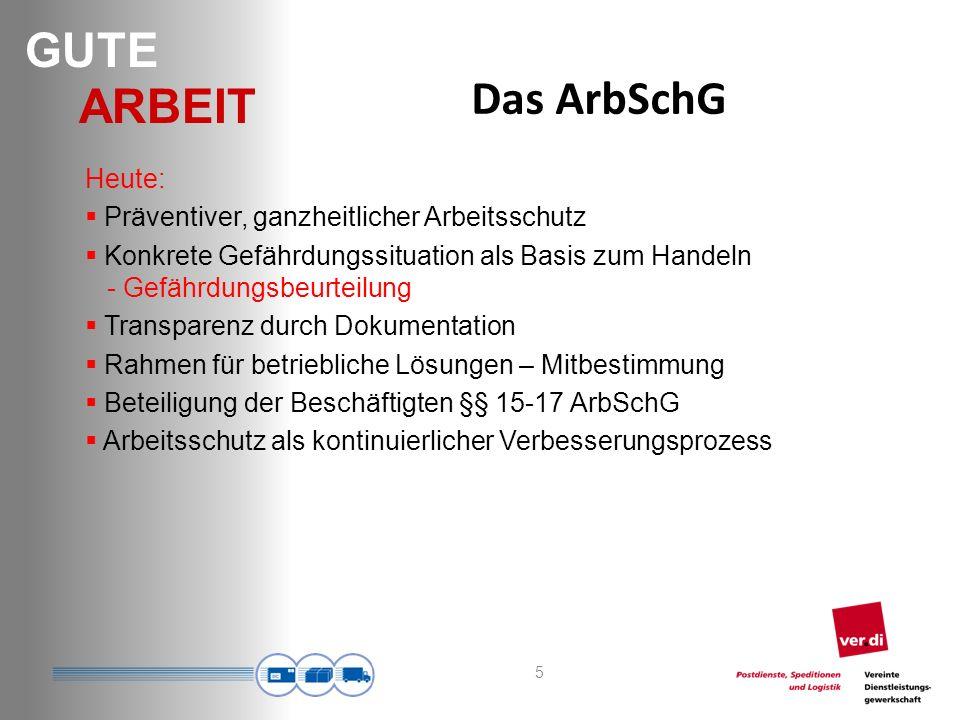 Das ArbSchG Heute: Präventiver, ganzheitlicher Arbeitsschutz