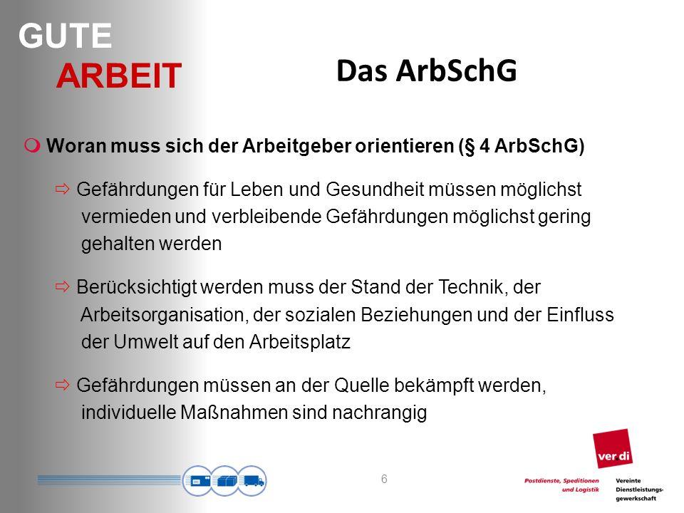 Das ArbSchG  Woran muss sich der Arbeitgeber orientieren (§ 4 ArbSchG)
