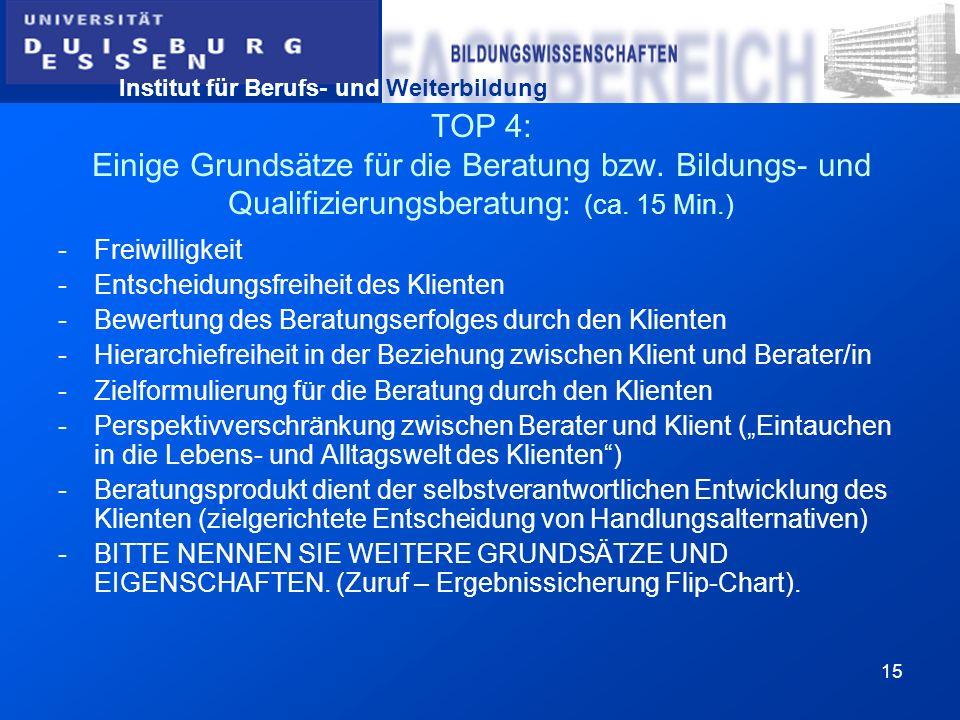 TOP 4: Einige Grundsätze für die Beratung bzw