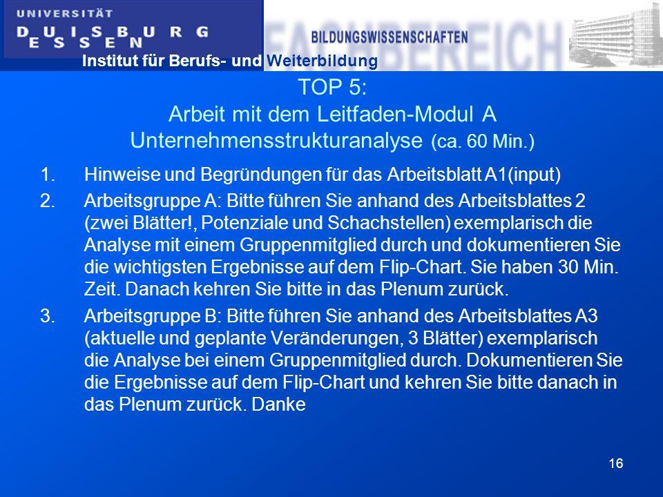 TOP 5: Arbeit mit dem Leitfaden-Modul A Unternehmensstrukturanalyse (ca. 60 Min.)