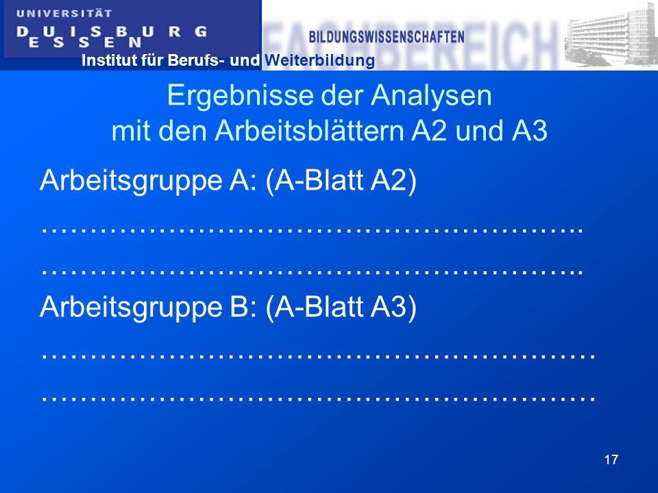 Ergebnisse der Analysen mit den Arbeitsblättern A2 und A3